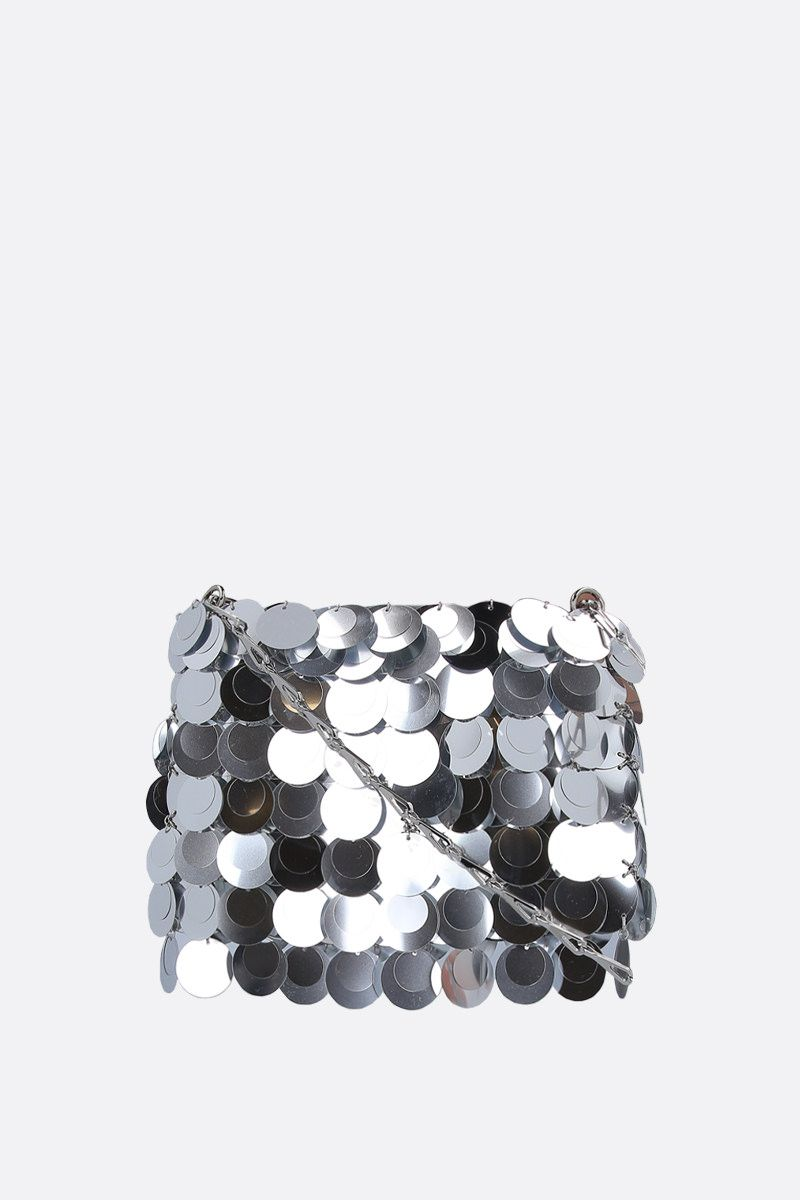 PACO RABANNE: 1969 Sparkle nano sequinned shoulder bag Color Silver_1