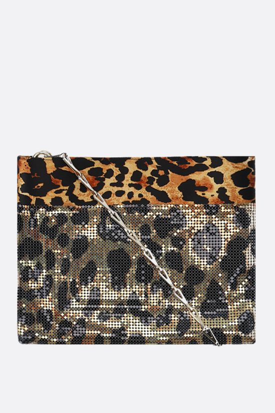 PACO RABANNE: Pixel satin and metal mesh shoulder bag Color Animalier_1