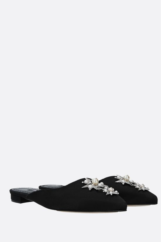 MANOLO BLAHNIK: slipper Beanza in raso Colore Nero_2