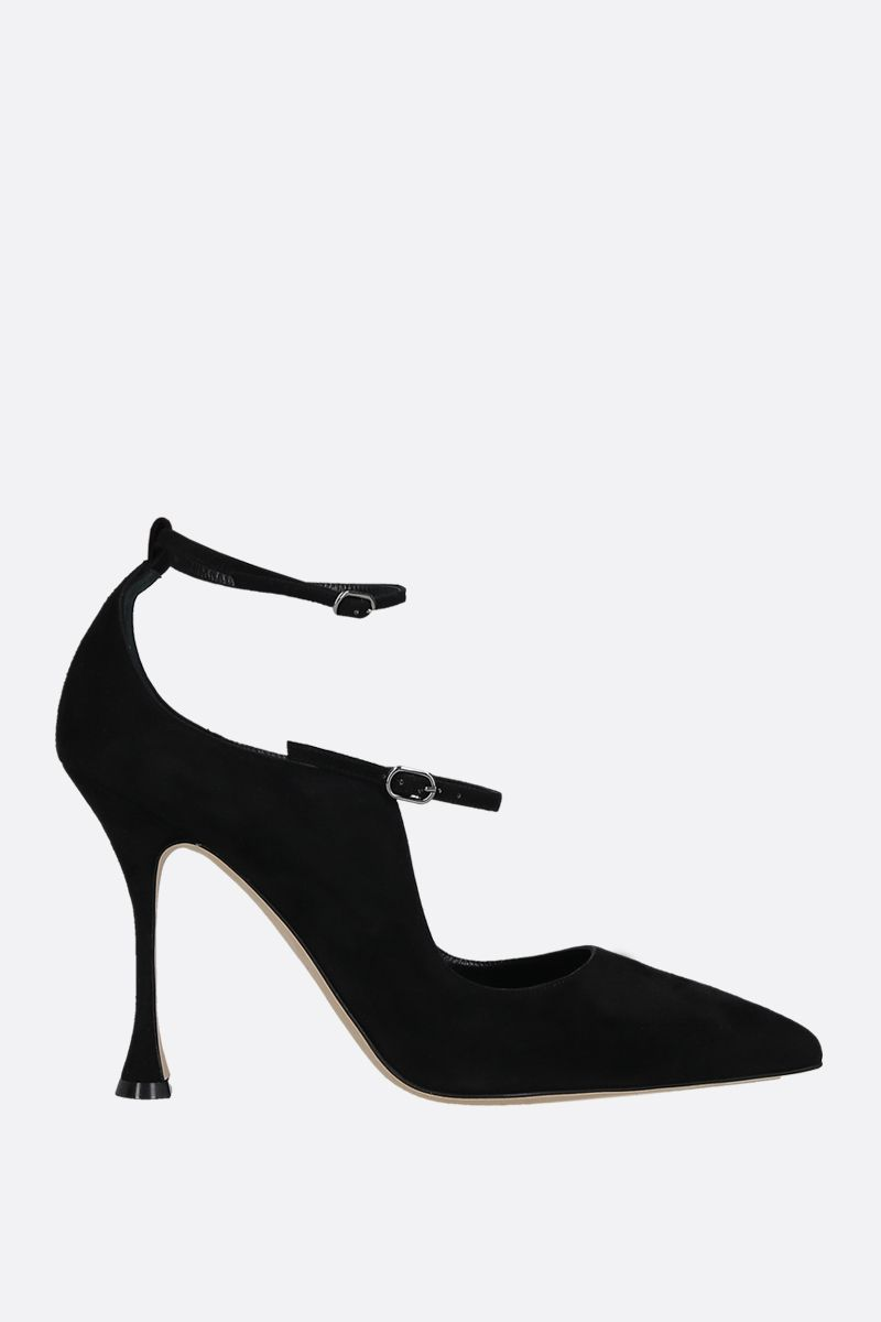 MANOLO BLAHNIK: Tomiris velvet suede pumps Color Black_1