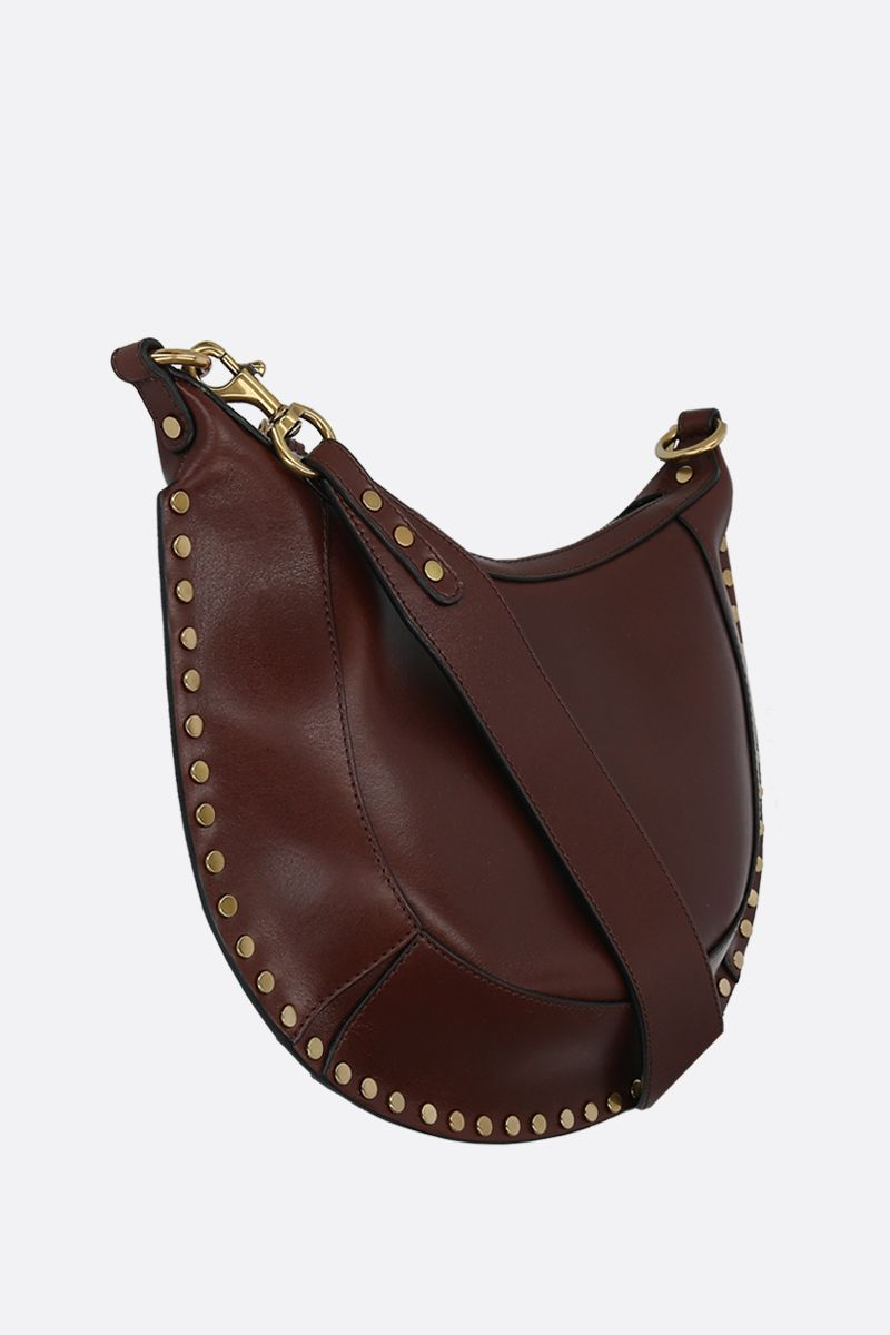 ISABEL MARANT: Naoko studded shiny leather shoulder bag Color Brown_2