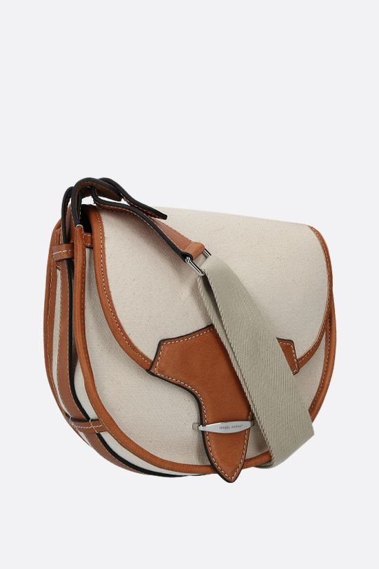 ISABEL MARANT: Botsy canvas and smooth leather shoulder bag Color Neutral_2