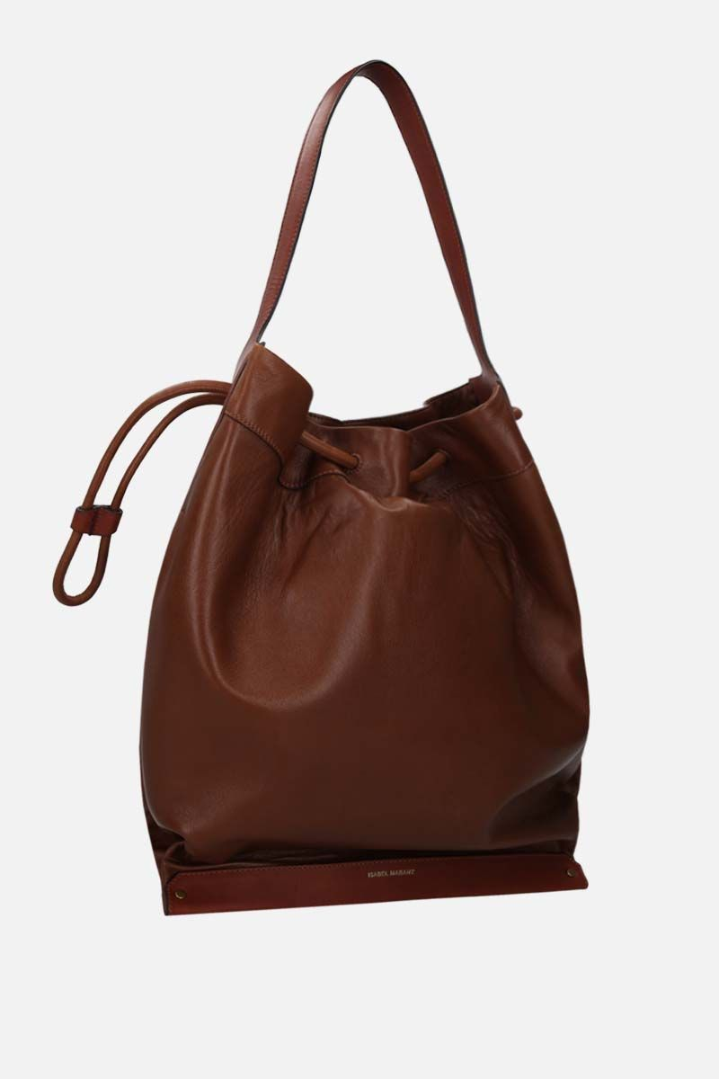 ISABEL MARANT: Sanky soft leather shoulder bag Color Brown_2