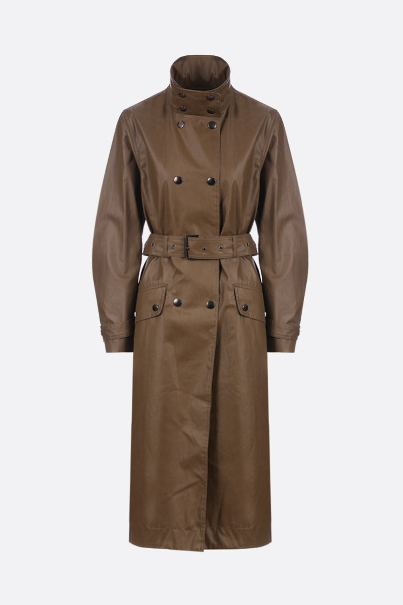 ISABEL MARANT: Tatiana double-breasted trench coat in coated canvas Color Brown_1