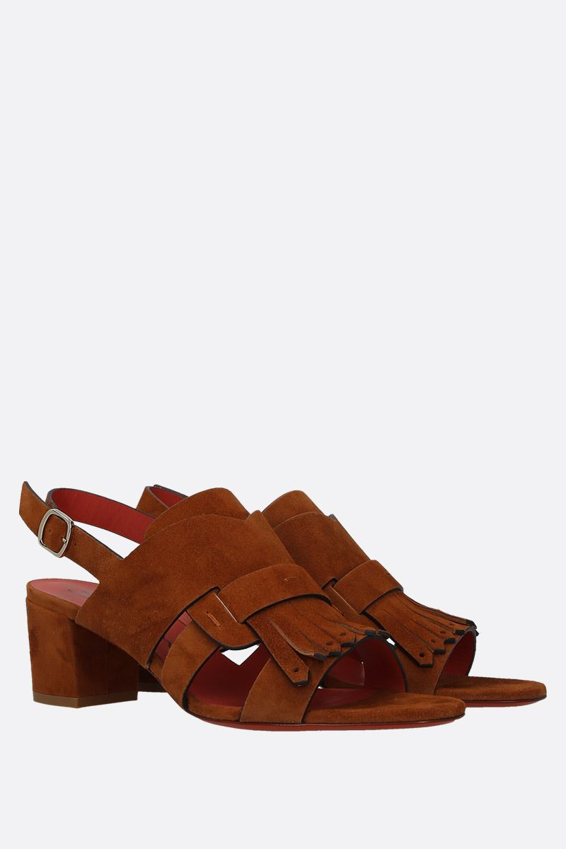SANTONI: fringe-detailed velvet suede sandals Color Brown_2