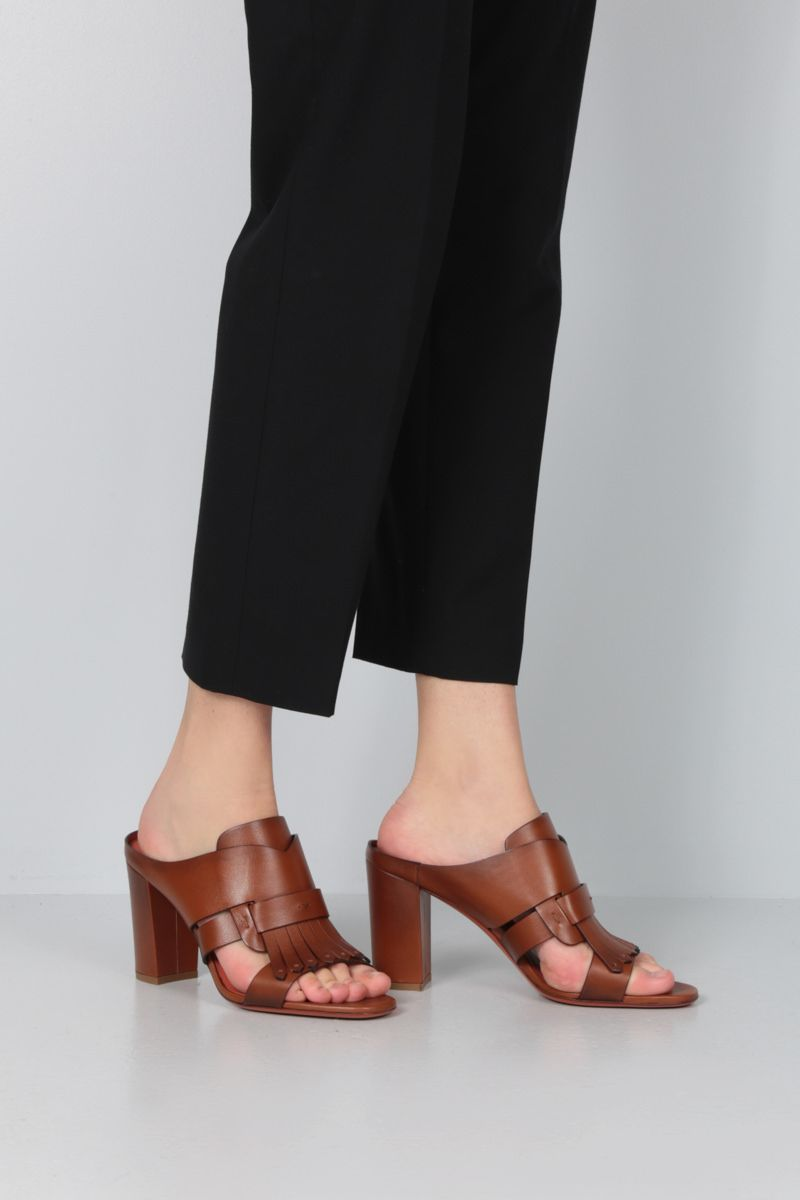 SANTONI: fringe-detailed smooth leather mule sandals Color Brown_2