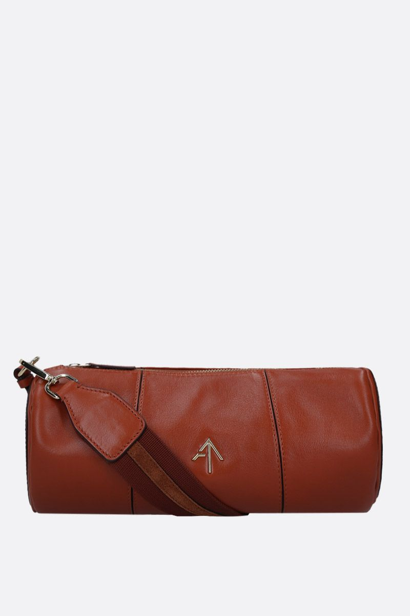 MANU ATELIER: Cylinder crossbody bag in shiny leather Color Brown_1
