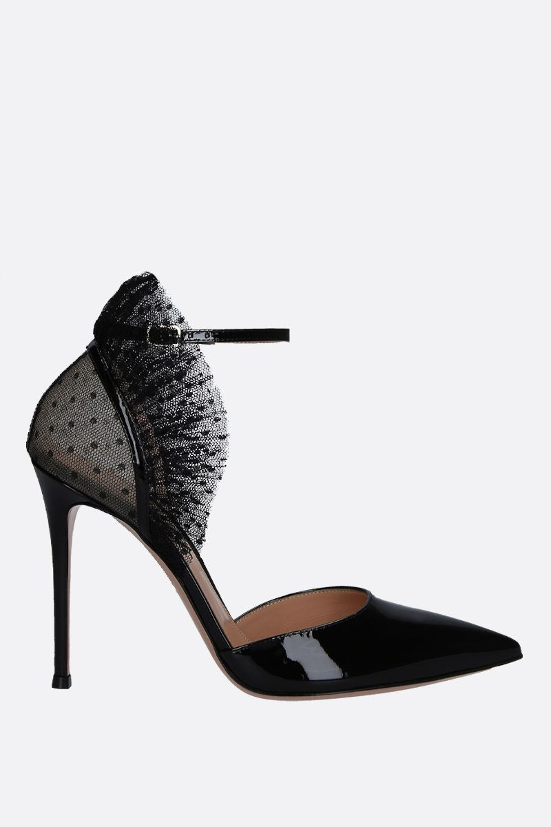 GIANVITO ROSSI: Beatrice pumps in patent leather and tulle Color Black_1