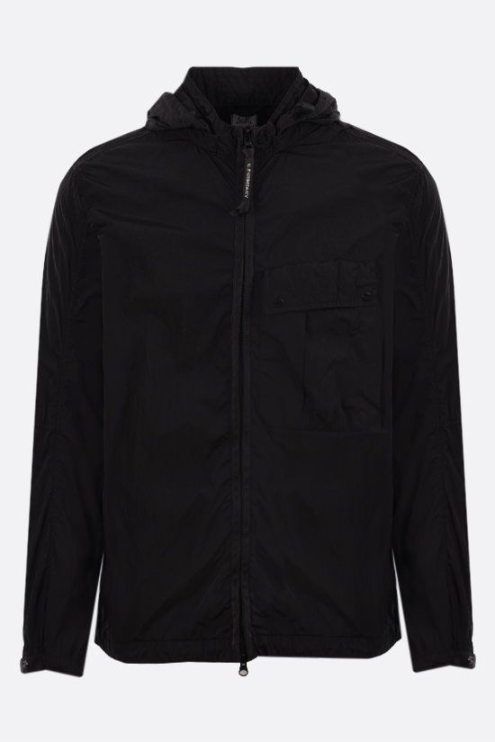CP COMPANY: Goggle windbreaker in Chrome-R fabric Color Black_1