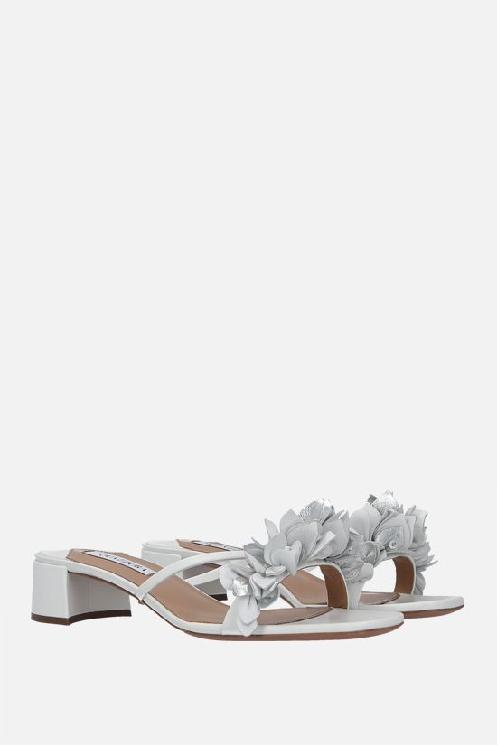 AQUAZZURA: Bouganvillea nappa sandals Color White_2
