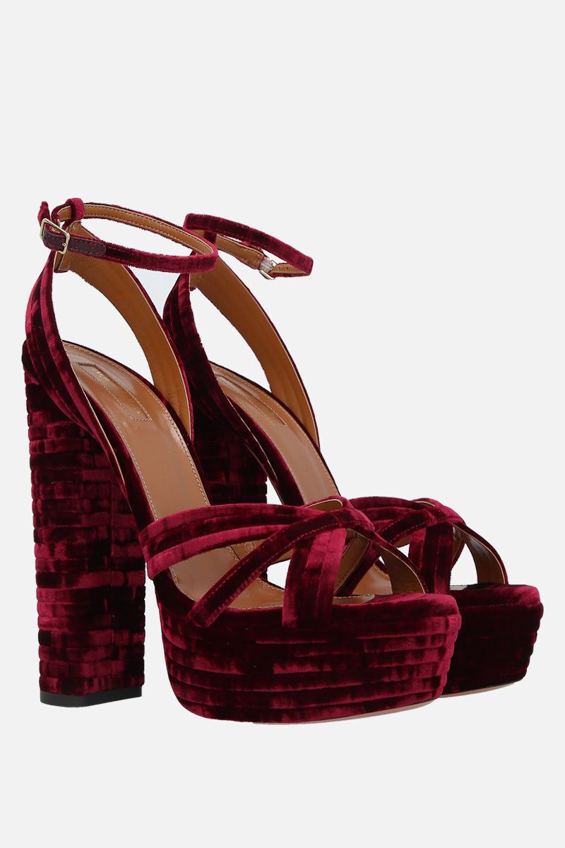 AQUAZZURA: Suadence velvet platform sandals Color Red_2