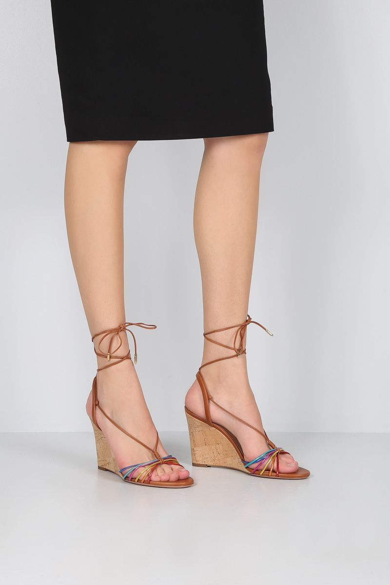 AQUAZZURA: Whisper leather wedge sandals Color Multicolor_2