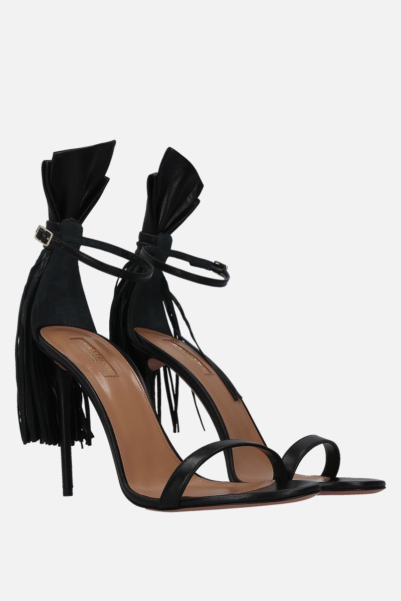 AQUAZZURA: sandalo Whip It in morbida nappa Colore Nero_2