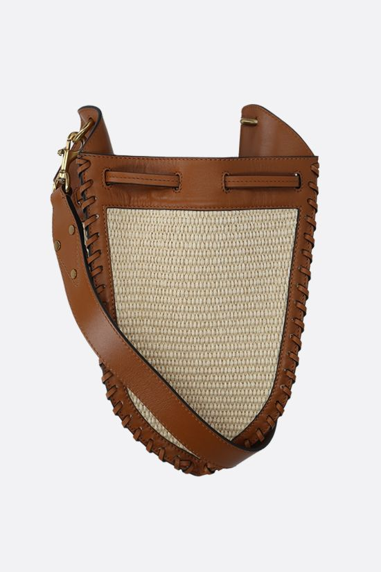 ISABEL MARANT: Radja raffia and smooth leather bucket bag Color Brown_1