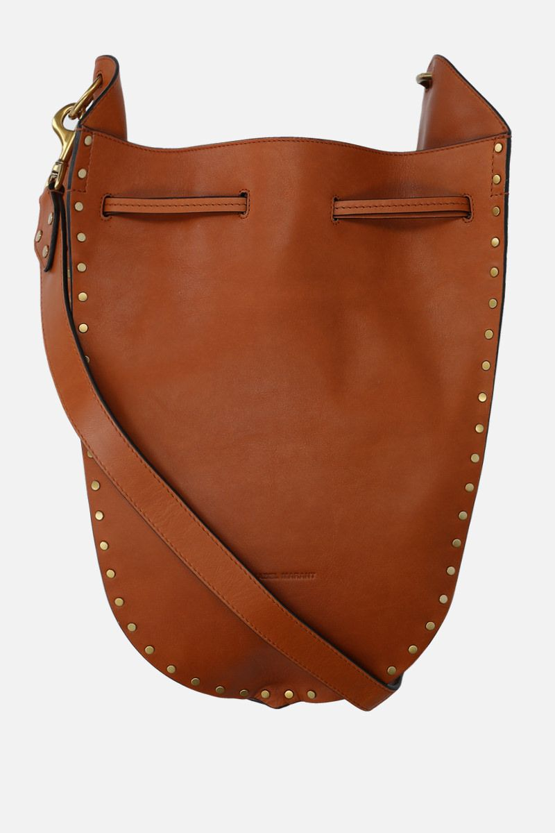 ISABEL MARANT: Taj studded leather shoulder bag Color Brown_1