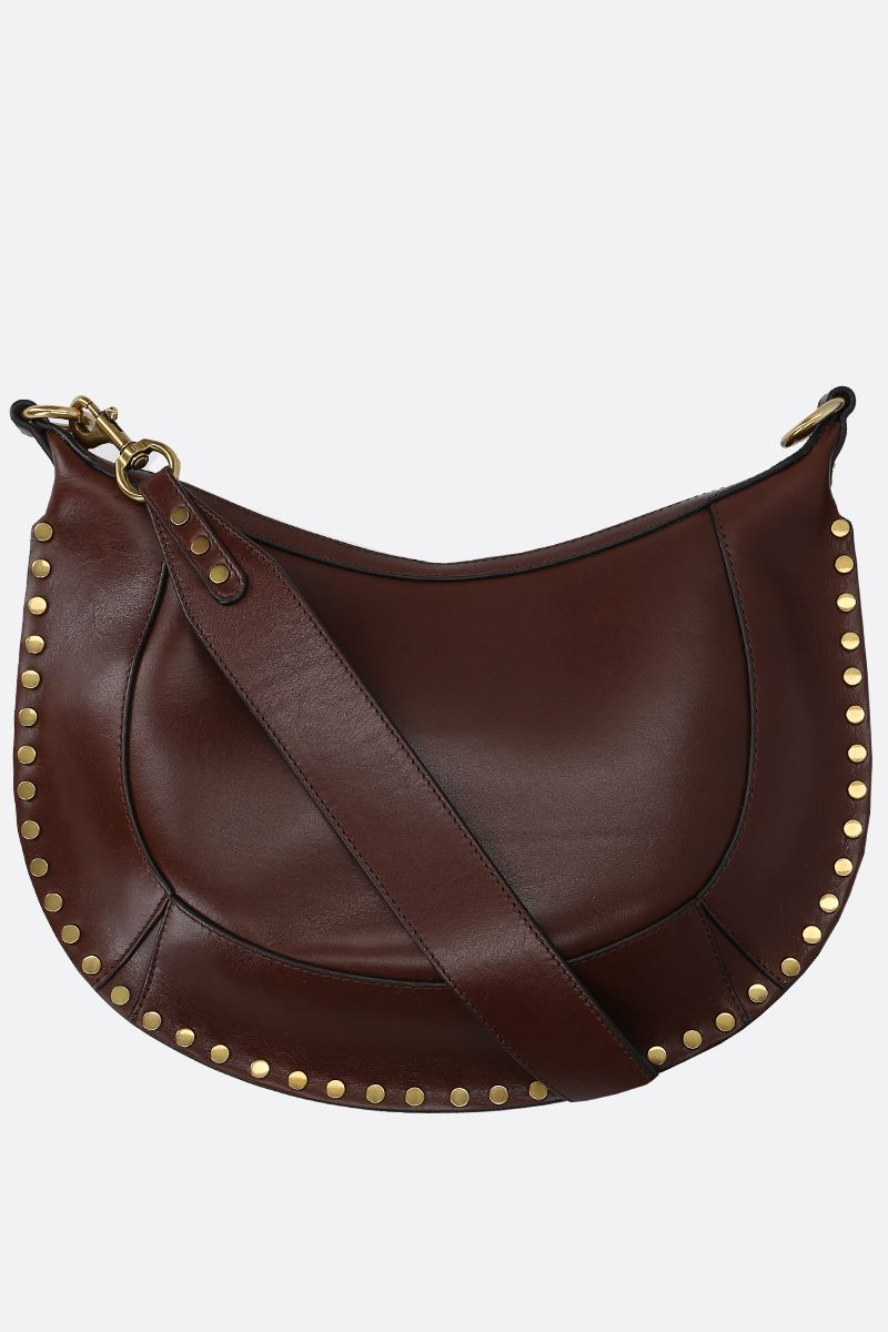 ISABEL MARANT: Naoko studded shiny leather shoulder bag Color Brown_1