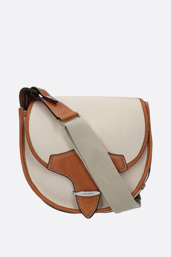 ISABEL MARANT: Botsy canvas and smooth leather shoulder bag Color Neutral_1