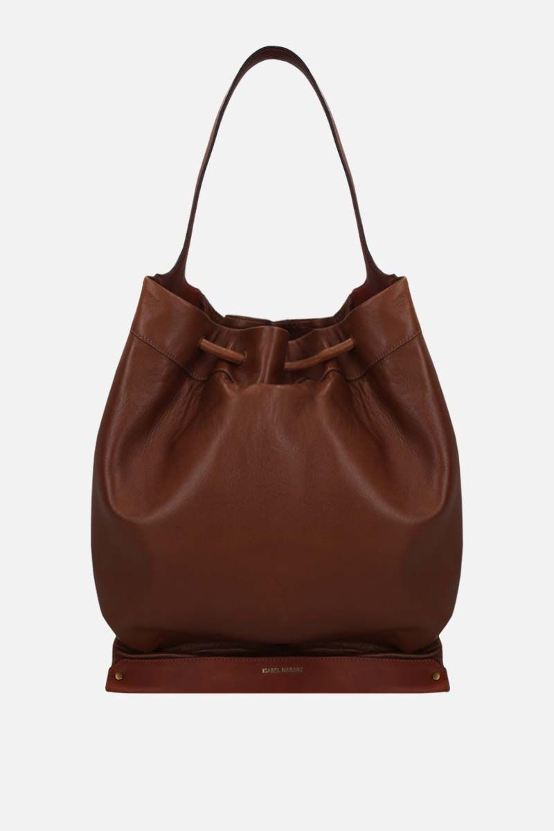 ISABEL MARANT: Sanky soft leather shoulder bag Color Brown_1