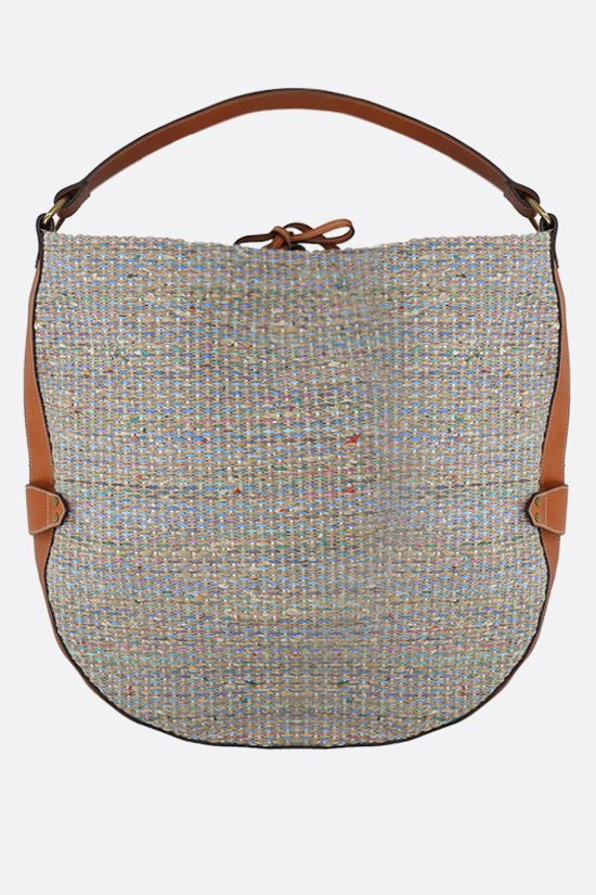 ISABEL MARANT: Balia raffia and smooth leather shoulder bag Color Blue_1