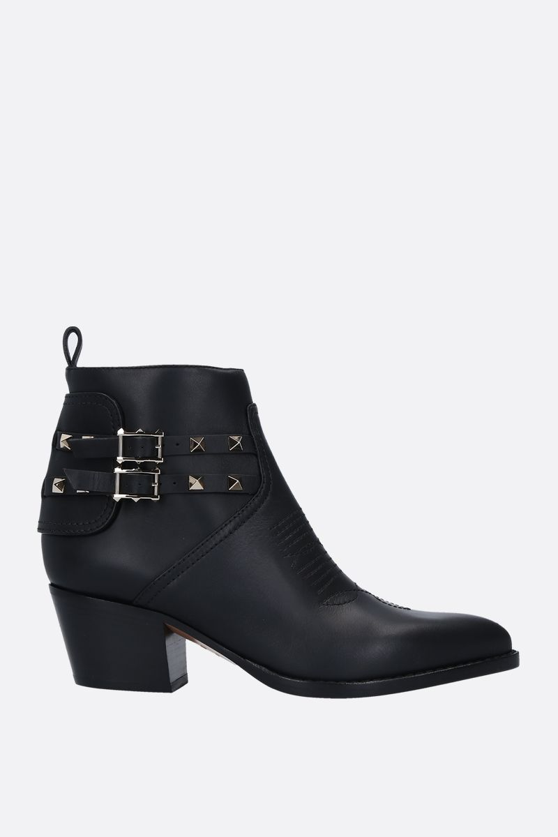 VALENTINO GARAVANI: Rockstud western boots in smooth leather_1