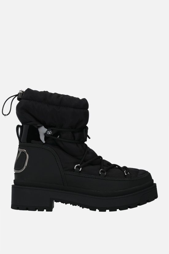 VALENTINO GARAVANI: VLOGO nylon and rubberized leather hiking boots Color Black_1