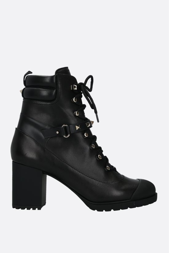 VALENTINO GARAVANI: Rockstud smooth leather lace-up boots Color Black_1