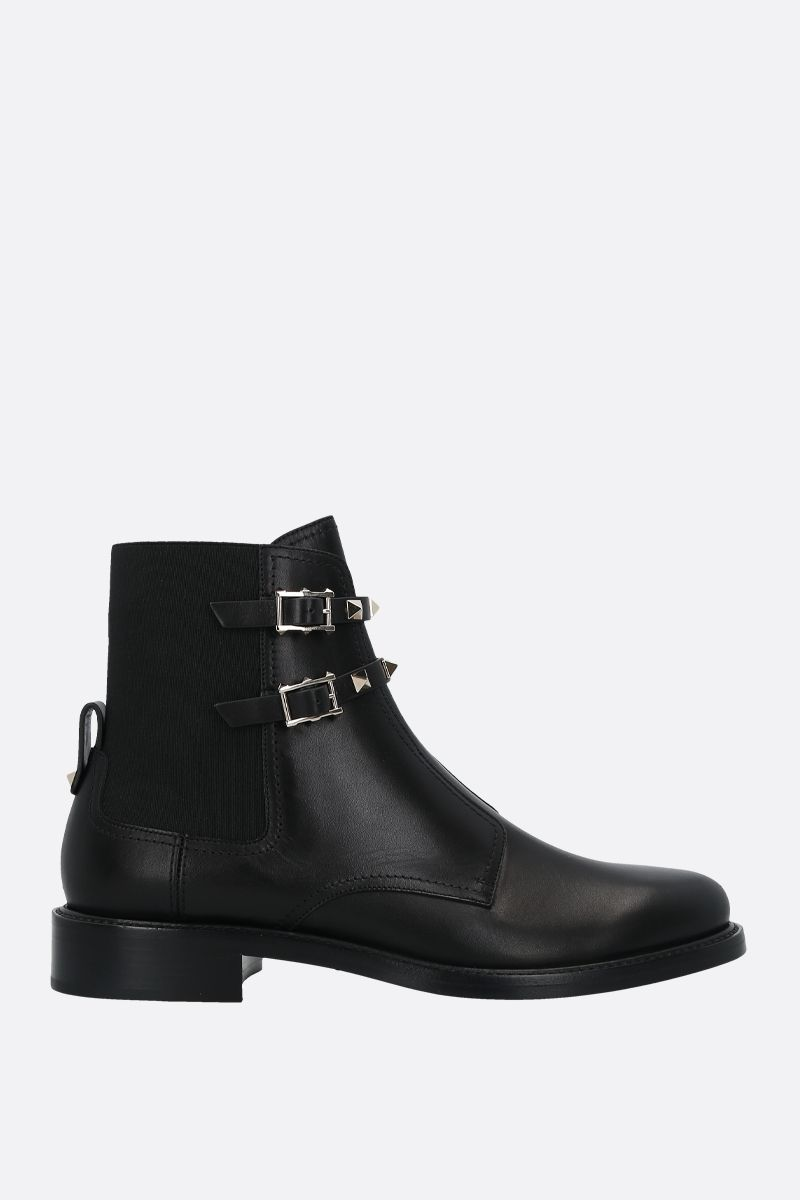 VALENTINO GARAVANI: Rockstud smooth leather ankle boots Color Black_1