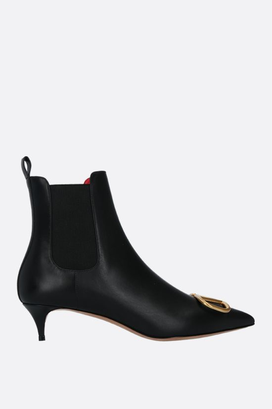 VALENTINO GARAVANI: VLOGO smooth leather booties Color Black_1