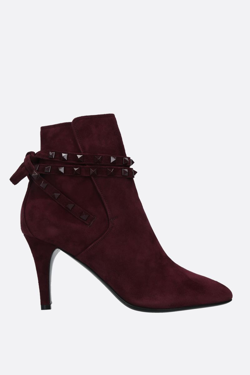 VALENTINO GARAVANI: Rockstud velvet suede booties Color Red_1