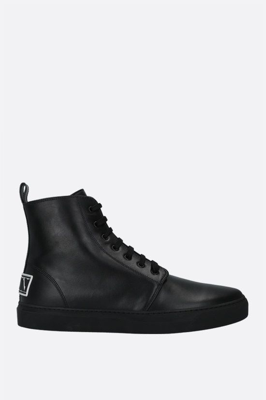 VALENTINO GARAVANI: VLTN tag smooth leather lace-up boots Color Black_1