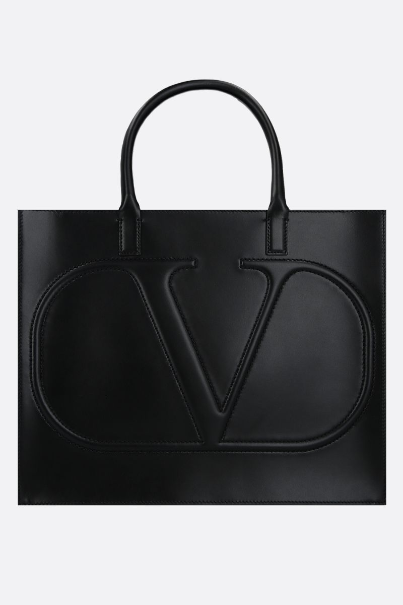 VALENTINO GARAVANI: borsa tote VLOGO WALK media in pelle lucida Colore Nero_1