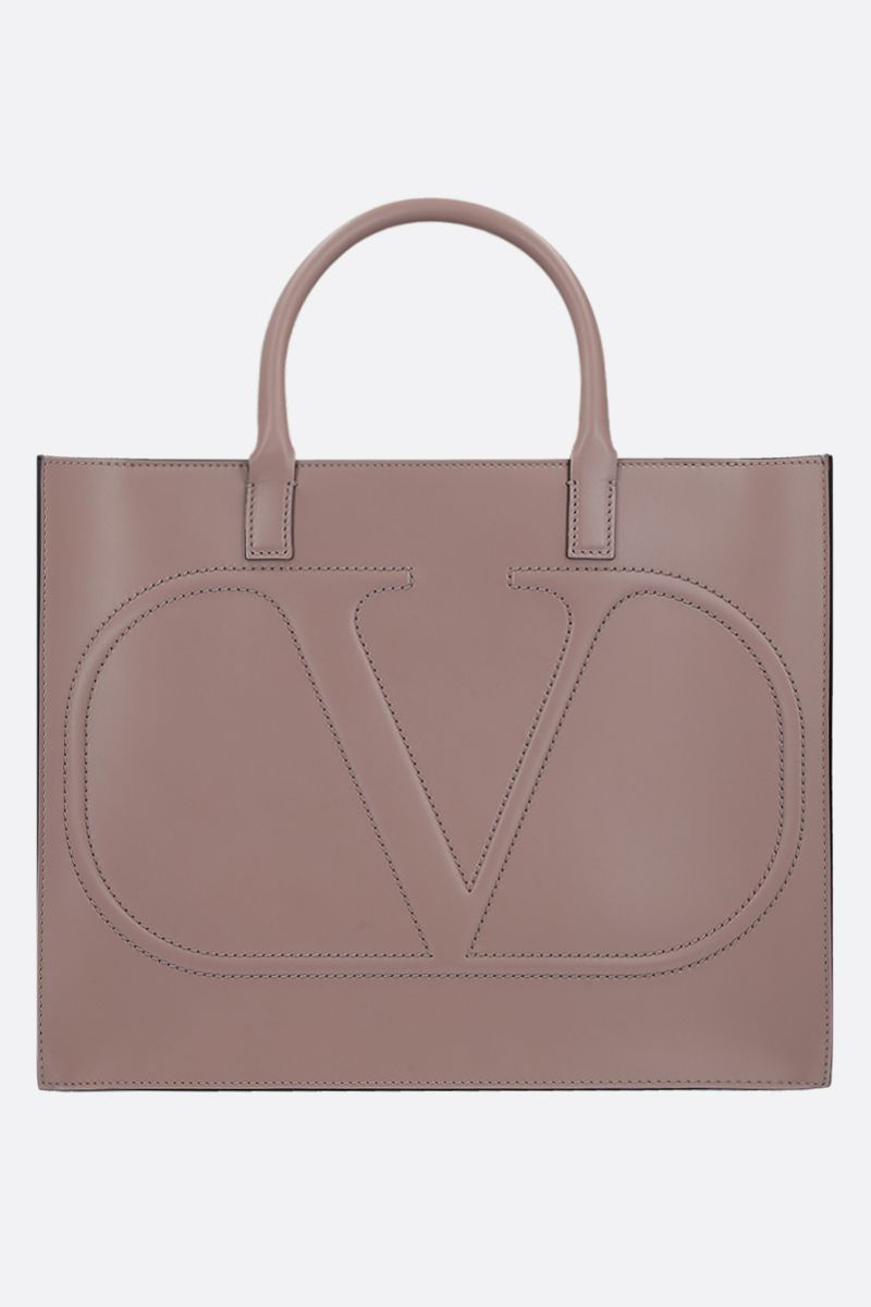 VALENTINO GARAVANI: VLOGO WALK medium shiny leather tote bag Color Pink_1