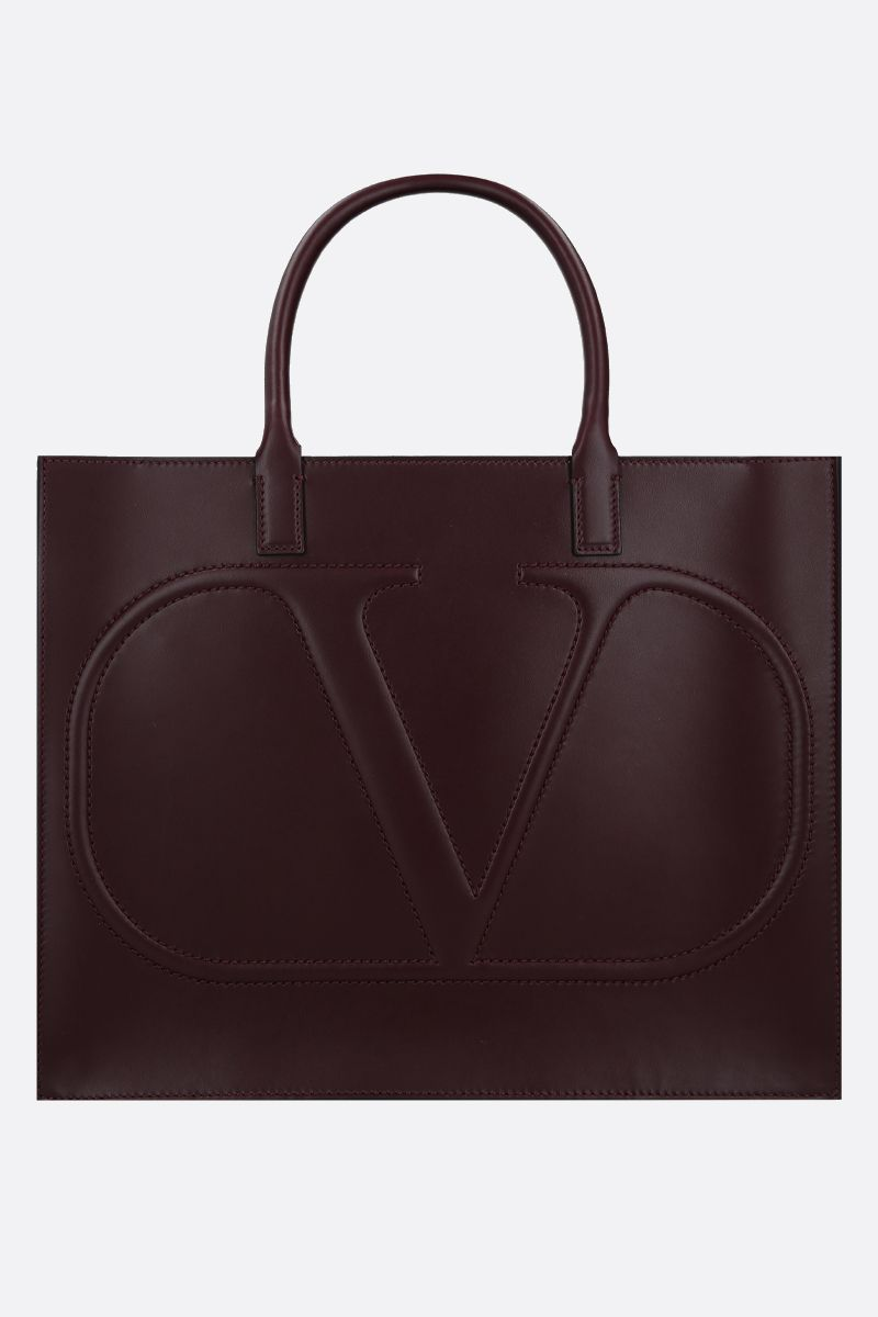 VALENTINO GARAVANI: VLOGO WALK medium shiny leather tote bag Color Red_1