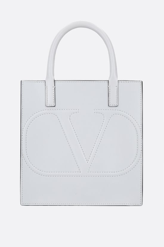 VALENTINO GARAVANI: VLOGO WALK small shiny leather tote bag Color White_1