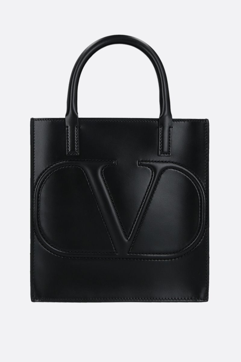 VALENTINO GARAVANI: VLOGO WALK small shiny leather tote bag Color Black_1