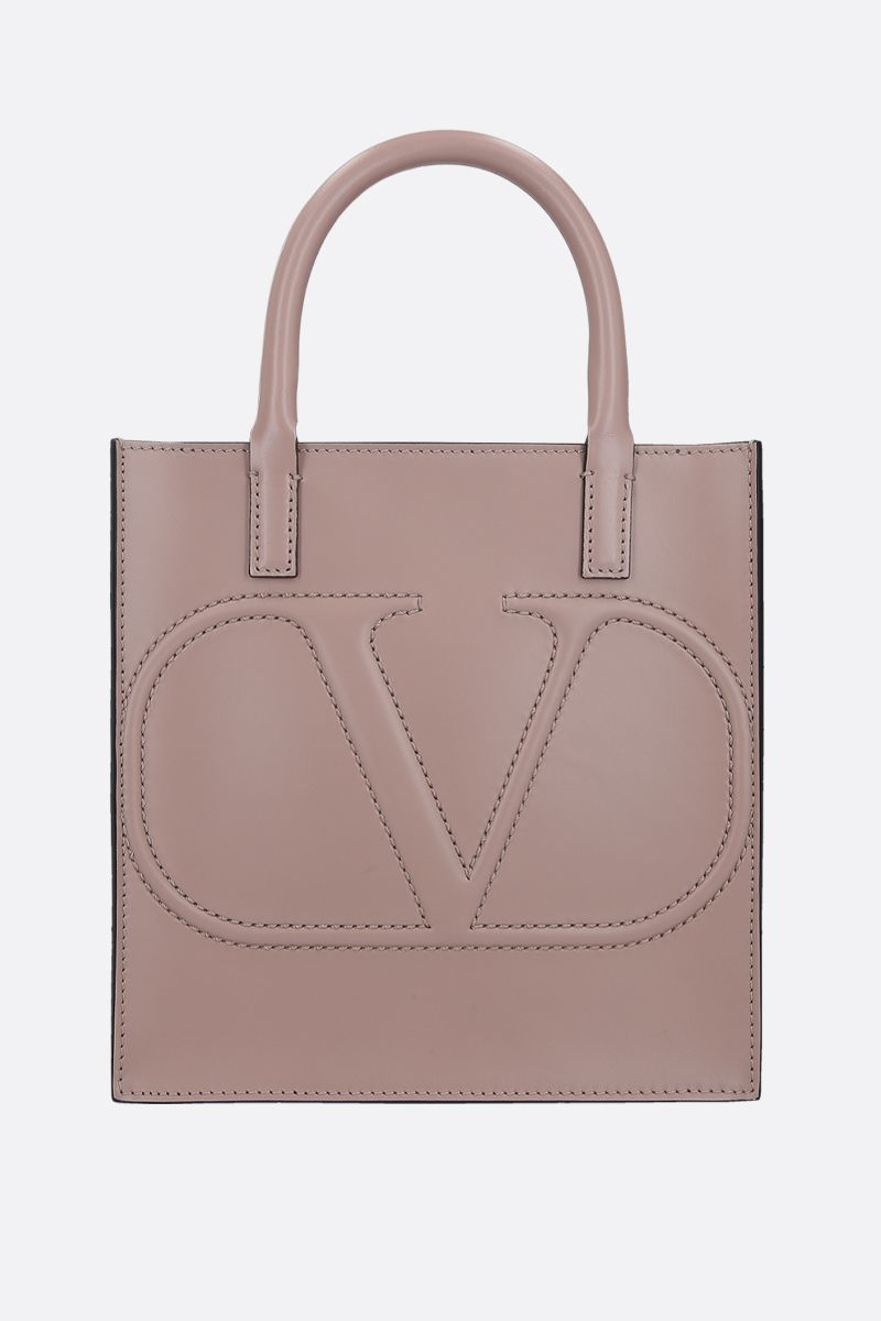 VALENTINO GARAVANI: VLOGO WALK small shiny leather tote bag Color Pink_1