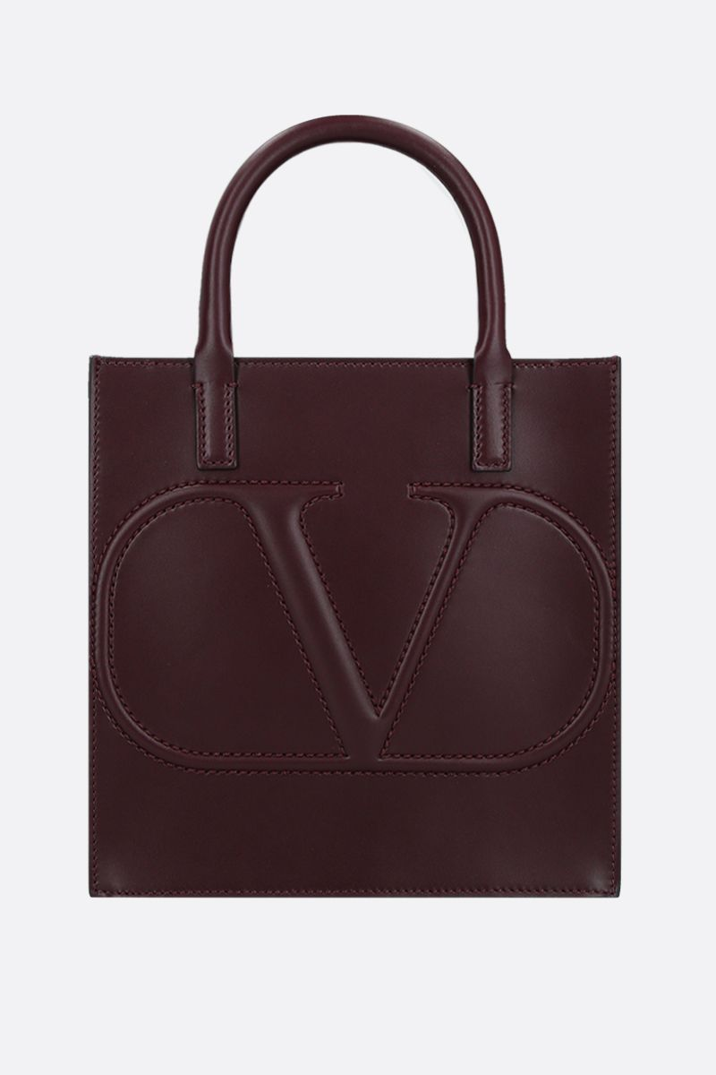 VALENTINO GARAVANI: VLOGO WALK small shiny leather tote bag Color Red_1