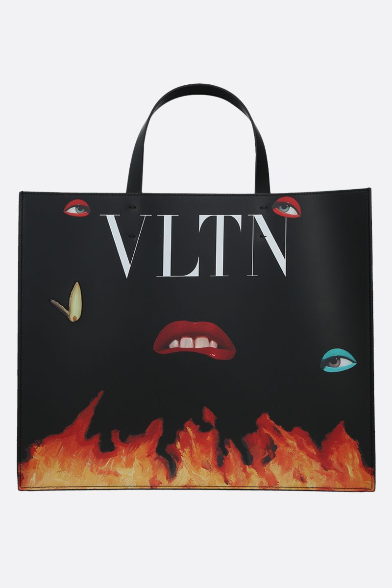 VALENTINO GARAVANI: VLTN smooth leather handbag Color Multicolor_1