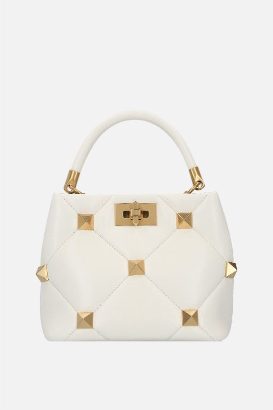 VALENTINO GARAVANI: Roman Stud The Handle Bag small quilted nappa handbag Color White_1