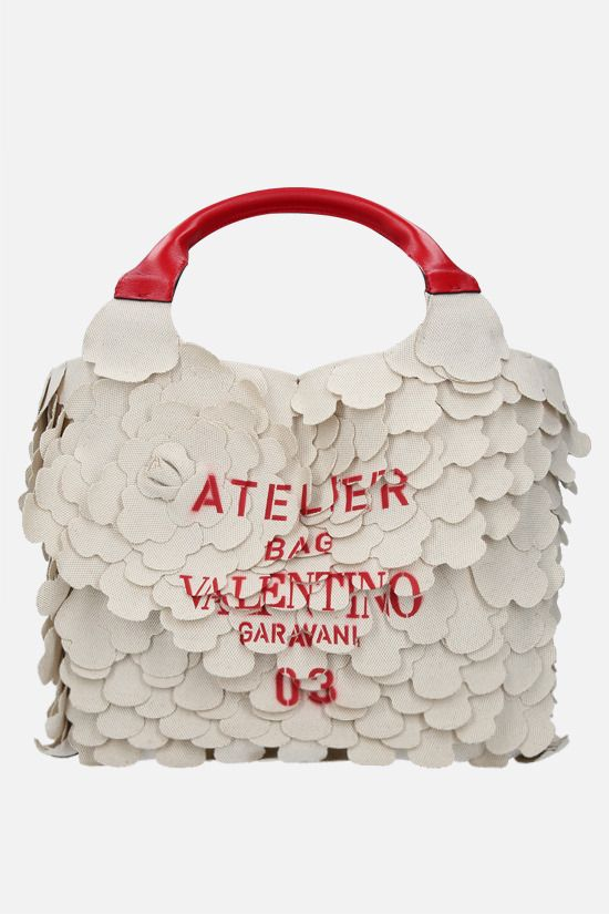 VALENTINO GARAVANI: Atelier Bag 03 Rose Edition small canvas tote bag Color Neutral_1