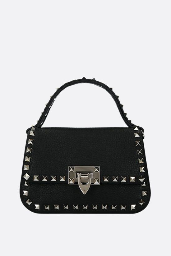 VALENTINO GARAVANI: Rockstud small grainy leather handbag Color Black_1