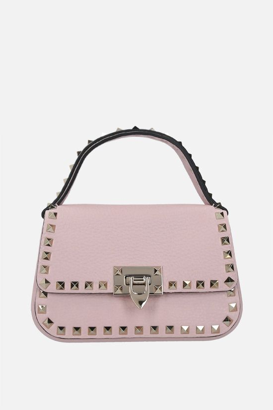 VALENTINO GARAVANI: Rockstud small grainy leather handbag Color Pink_1