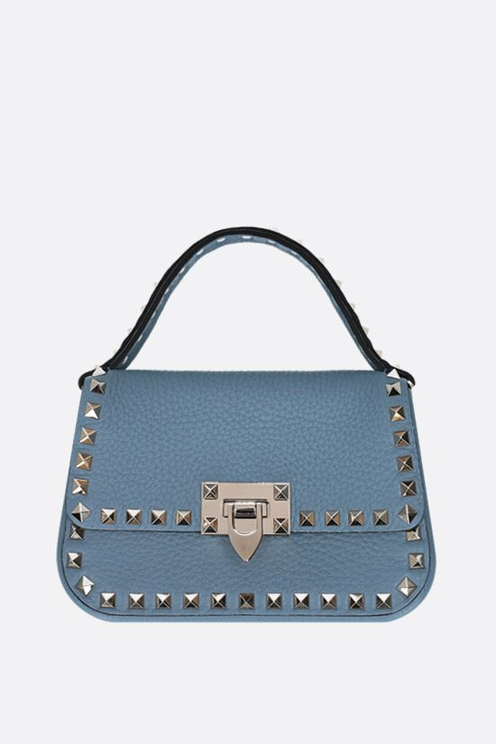 VALENTINO GARAVANI: Rockstud small grainy leather handbag Color Blue_1
