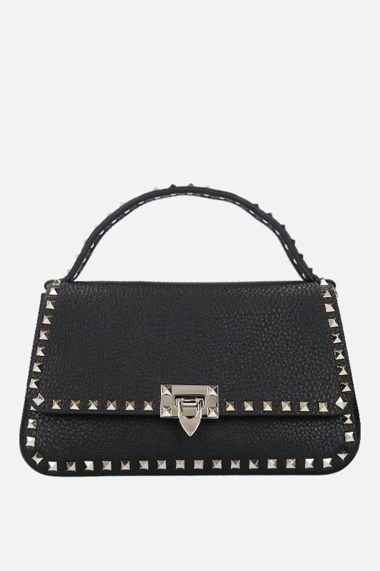 VALENTINO GARAVANI: Rockstud medium grainy leather handbag Color Black_1