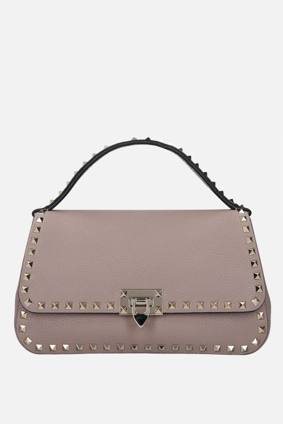 VALENTINO GARAVANI: Rockstud medium grainy leather handbag Color Neutral_1