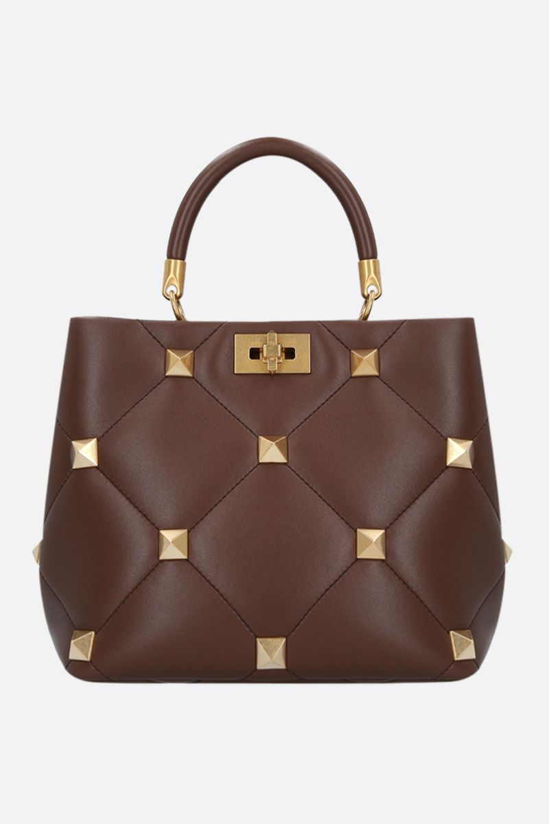 VALENTINO GARAVANI: Roman Stud The Handle Bag in quilted nappa Color Brown_1