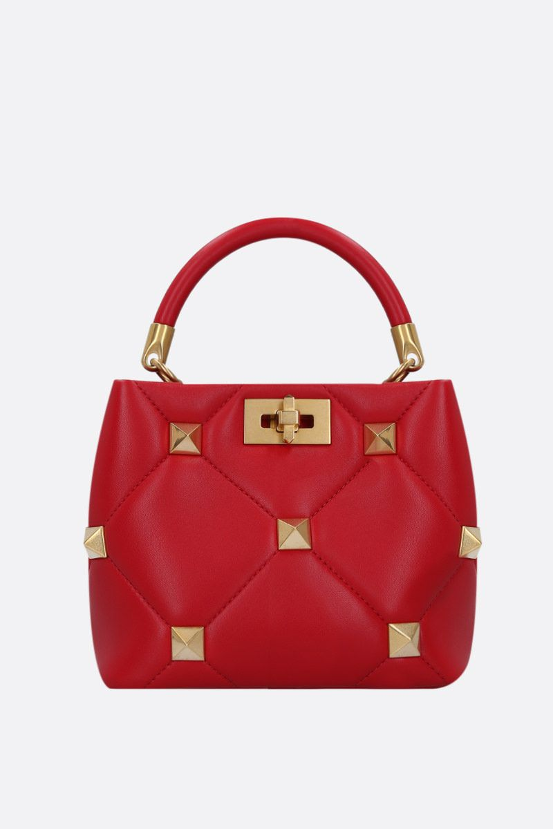 VALENTINO GARAVANI: Roman Stud The Handle Bag small in quilted nappa Color Red_1