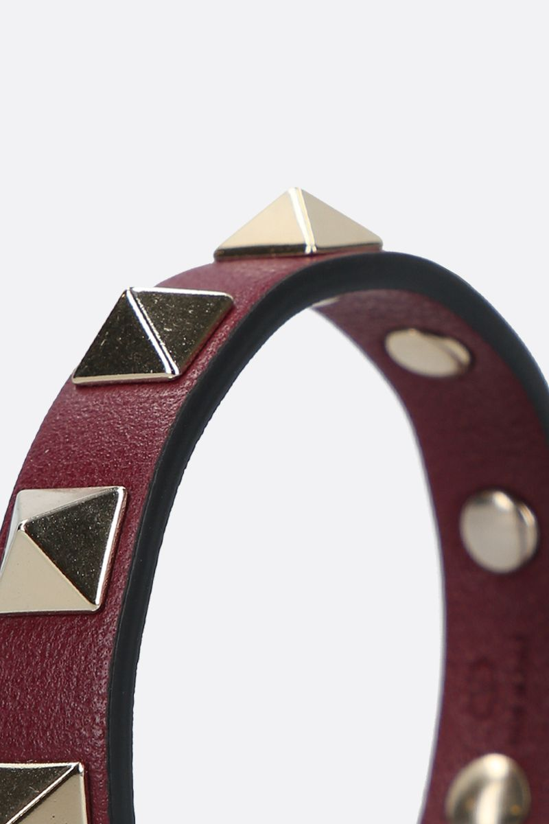 VALENTINO GARAVANI: Rockstud smooth leather bracelet Color Purple_2