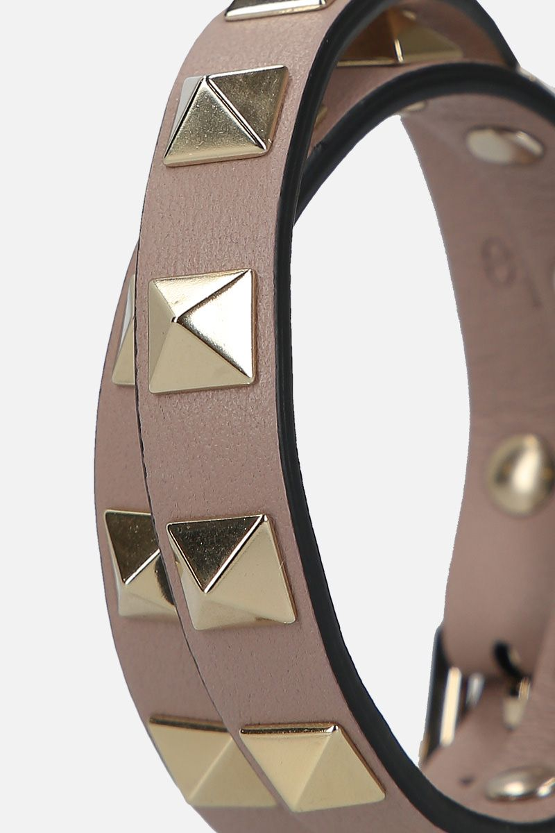 VALENTINO GARAVANI: Rockstud smooth leather double-wrap bracelet Color Pink_2
