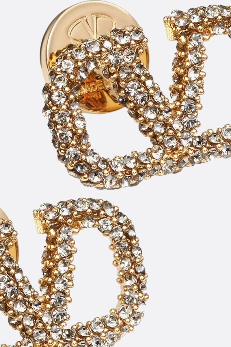 VALENTINO GARAVANI: VLOGO metal and crystals earrings_2